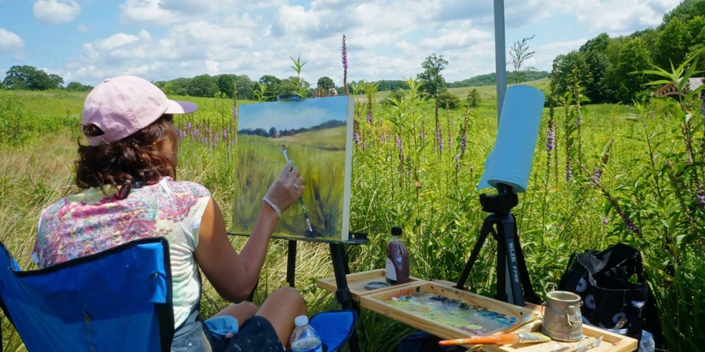 Alessi Painting Plein Air at Longwood